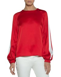 Eleventy Cady Blouse With Striped Sleeves Red