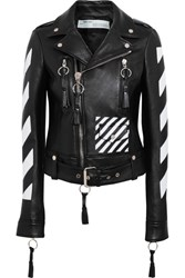 Off White Paneled Leather Biker Jacket Black