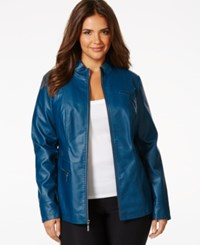 Alfani Plus Size Teal Blue Faux Leather Zip Front Jacket Only At Macy's Urban Teal