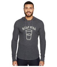 Life Is Good Half Full Arc Hooded Waffle Pullover Night Black Men's Long Sleeve Pullover