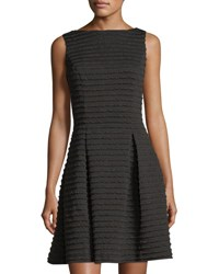 Neiman Marcus Metallic Ottoman Ribbed Fit And Flare Dress Black Bronze