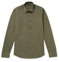 Tod's Garment Dyed Cotton Blend Shirt Army Green