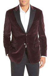 Men's Big And Tall Todd Snyder White Label Trim Fit Velour Dinner Jacket Burgundy