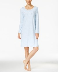 Miss Elaine Ruffle Edged Printed Knit Nightgown Blue Print