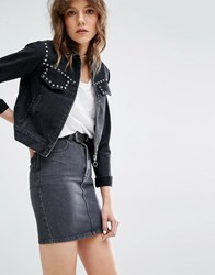 Mango Western Studded Denim Jacket Black