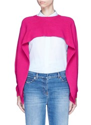 Valentino Cropped Cashmere Capelet Sweater Pink