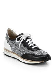 Aquatalia By Marvin K Nahla Leather And Tweed Sneakers Black
