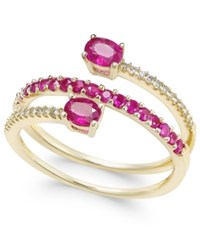 Macy's Certified Ruby 3 4 Ct. T.W. And Diamond 1 10 Ct. T.W. Coil Ring In 14K Gold Yellow Gold