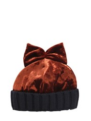 Federica Moretti Velvet And Wool Knit Beanie Hat W Bow