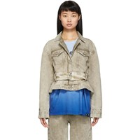 Proenza Schouler Taupe Rigid Belted Jacket