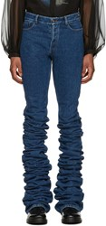 Y Project Navy Extra Long Fold Jeans