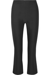 Theory Erstina Cropped Stretch Cotton Blend Flared Pants Black