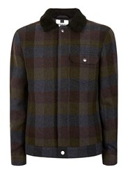 Topman Green Khaki Check Wool Blend Western Jacket