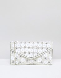New Look 3D Sequin Flower Envelope Clutch Bag White
