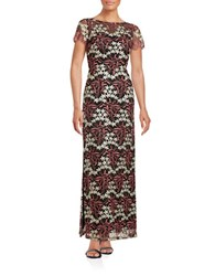 Aidan Mattox Embroidered Floral Gown Coral Gold