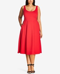 City Chic Trendy Plus Size Fit And Flare Dress Cherry Red