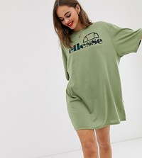 Ellesse Recycled Oversized T Shirt Dress With Palm Front Logo Green