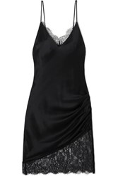 Cami Nyc The Constance Lace Trimmed Ruched Silk Charmeuse Mini Dress Black