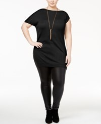 Whitespace Trendy Plus Size Fitted Tunic Black