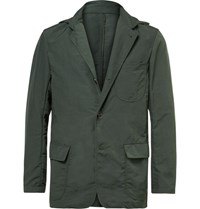 Battenwear Green Slim Fit Shell Blazer With Detachable Hood Green