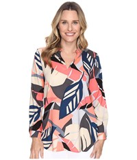Vince Camuto Long Sleeve Modern Tropics V Neck Tunic Coral Passion Women's Blouse Red