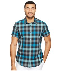 Calvin Klein Short Sleeve Shadow Plaid Shirt Midnight Green Men's Clothing