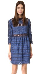 Sea Eyelet And Lace Popover Dress Indigo
