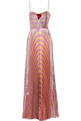 Gucci Embellished Striped Lame Gown Pink