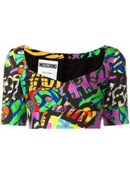Moschino Logo Print Cropped Top Black