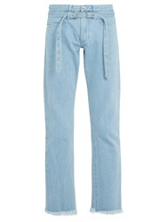 Marques Almeida Belted Double Loop Denim Jeans Blue