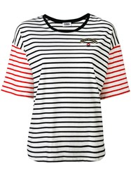 Sonia Rykiel By Striped Panel T Shirt Women Cotton Modal S White