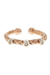 Meshmerise Rose Gold Vermeil And Sterling Silver Diamond Stations Braided Mesh 0.05 Ctw
