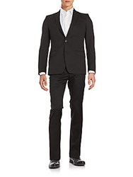 Versace Regular Fit Tonal Striped Wool Suit Charcoal