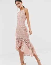 Girl In Mind Crochet Lace Fishtail Midi Dress Pink