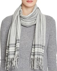 Bloomingdale's C By Border Plaid Cashmere Scarf Pale Gray Black Ivory