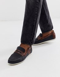 Barbour Keel Leather Loafer Boat Shoes In Navy