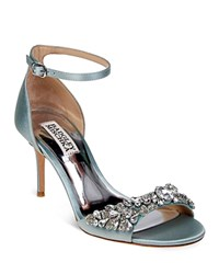 Badgley Mischka Bankston Satin Embellished Ankle Strap High Heel Sandals Blue Radiance