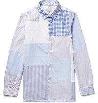 Visvim Long Rider Patchwork Cotton Poplin Shirt Blue