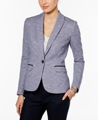 Tommy Hilfiger Tweed Piped Trim One Button Blazer Blue Combo