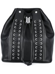 Diesel Black Gold Studded Drawstring Backpack Black