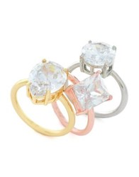 Jessica Simpson Set Of Three Crystal Stacking Rings Tri Tone