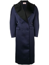 Christopher Kane Satin Double Breasted Coat Blue