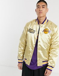 Mitchell And Ness La Lakers Championship Game Satin Jacket In Gold