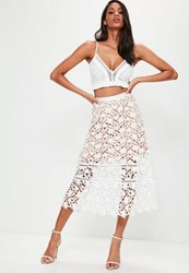 Missguided Premium White Heavyweight Crochet Lace Full Midi Skirt