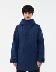 Goldwin Hooded Gore Tex Coat In Navy