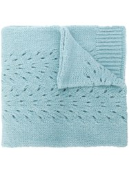 Roberto Collina Perforated Knit Scarf Blue