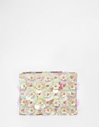 New Look 3D Flower Clutch Blush