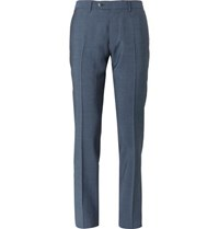 Caruso Navy Slim Fit Garment Dyed Wool And Mohair Blend Suit Trousers Blue