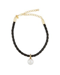 Kenneth Jay Lane Braided Leather Choker W Simulated Pearl Drop White