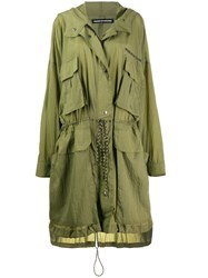 House Of Holland Hooded Parka Coat Green